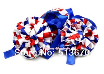 4TH July Baby USA Flag Star Royal Blue Ribbon Wif Stripe Rose Crib Shoes NB-18M MAAS016