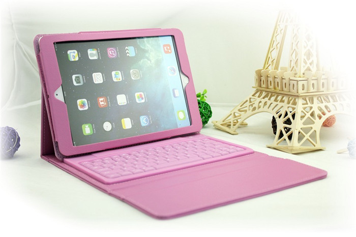 For Apple iPad 2 3 4 Wireless Removable Bluetooth Keyboard & Leather Case Cover free shipping D0207(China (Mainland))