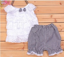 Baby Girls 2 PCS Sets Tops Shorts Clothes Hollow Out Kids Outfits 2 Colors 1 4Y