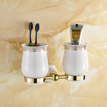 Golden Polished Porcelain Base Cup & Tumbler Holders Stainless Steel Toothbrush Cup Holder Bathroom Accessories 10DCH(China (Mainland))