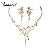 Hottest Viennois Gold Plated Earrings Statement Cross Necklace for Women Jewelry Sets(China (Mainland))