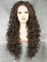 N18-6/8#Top Quality Fiber Loose Curly Wigs Synthetic Lace Front Wigs 180% Density Black Color Heat Resistant Synthetic Hair Wigs