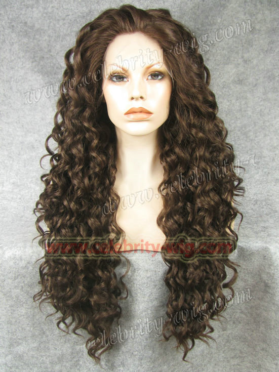 N18 6 8 Top Quality Fiber Loose Curly font b Wigs b font Synthetic Lace Front