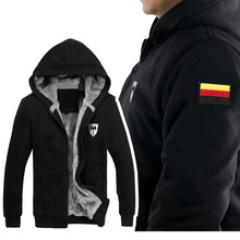 Winter Men's Hoodies Sweatshirts Sports Male Hooded Embroidery & Print Germany Russia France FLAG Zipper Protector Men Coat(China (Mainland))