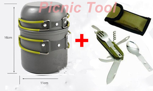 Buy Pot/Bowl Camping Cookware Cook Set Hiking Survival W/Picnic cutlery Fork Spoon Knife Blade cheap