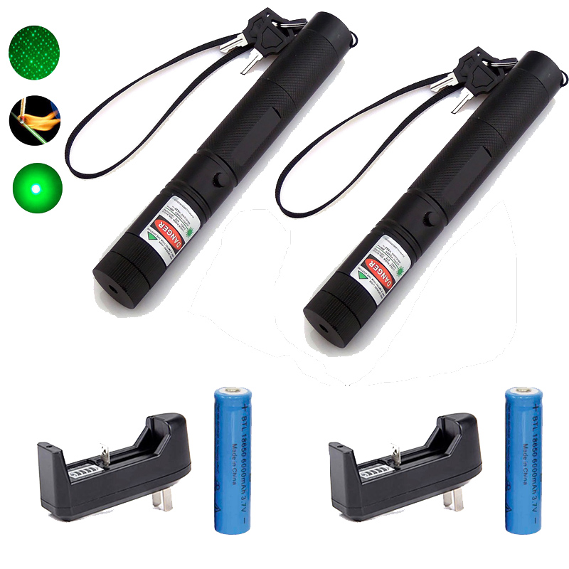 2 pcs x Military 532nm 5mw 303 Laser Pointer 5000mW Power Green Laser Pointer Pen Burning Beam +18650 Battery+Charger(China (Mainland))