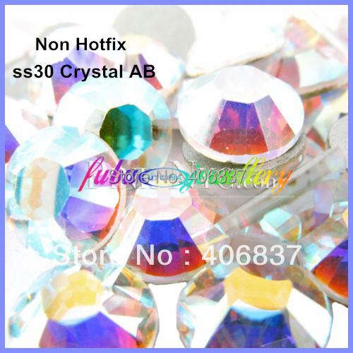 Free Shipping! 288pcs/Lot, ss30 (6.3-6.5mm) Crystal AB Flat Back Nail Art Non Hotfix Rhinestones(China (Mainland))