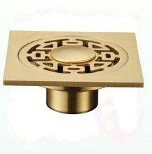 three holes 4″ Floor Drain Golden Polished brass bathroom Strainer Drain washing machine floor drain torneira eletrica banheiro