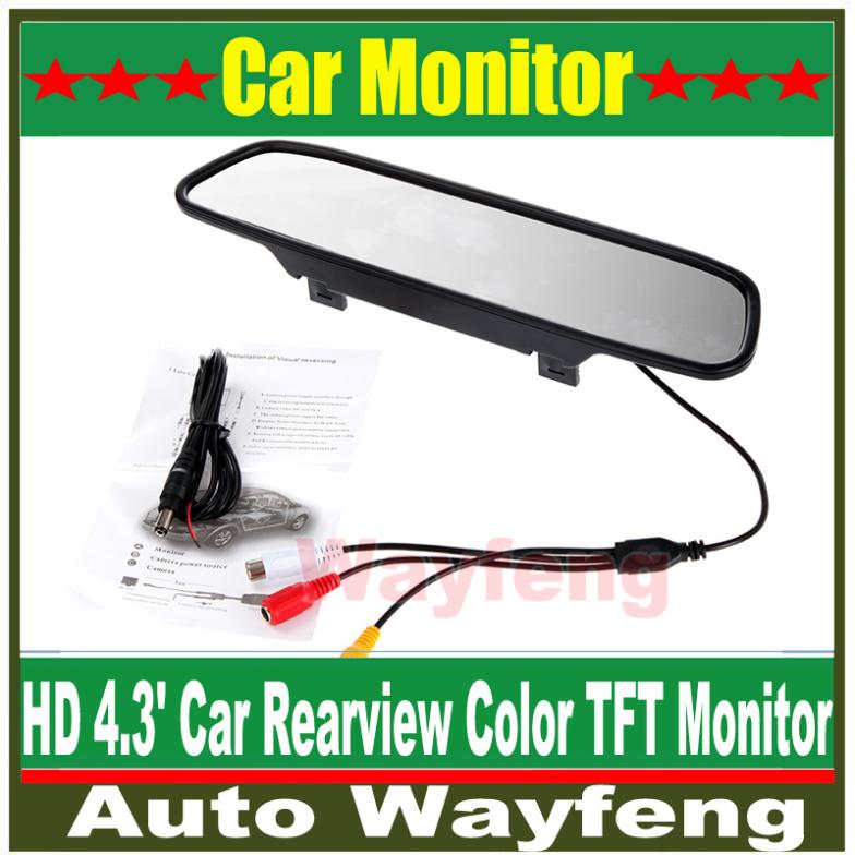 """Hot!!!High resolution 4.3"""" Color TFT LCD Car Rearview Mirror Monitor 4.3 inch 16:9 screen DC 12V car Monitor for DVD Camera VCR(China (Mainland))"""