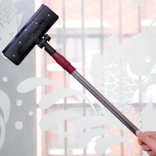 Retractable pole glass wipe window brush glass scraper dust mop multifunctional glass brush cleaner