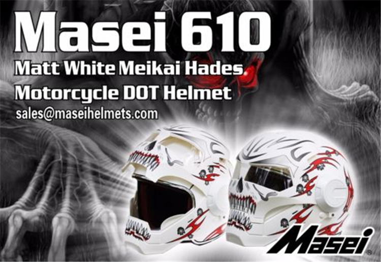 Personality motorcycle helmet male iron 610 man retro high-end off-road motorcycle the ghost white red Genuine(China (Mainland))