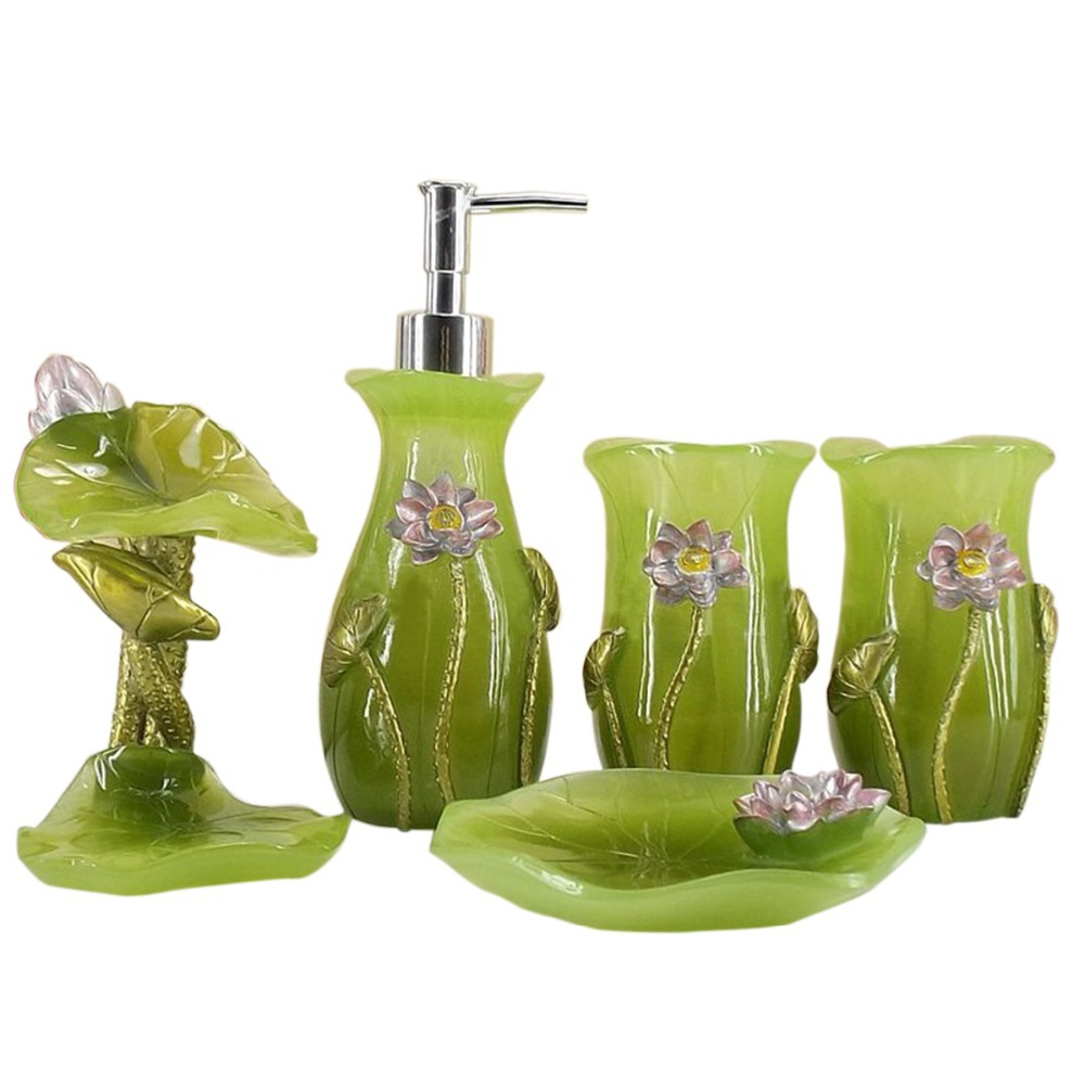 Green color bathroom set 5 pieces set of bath wedding gift for Coloured bathroom accessories set