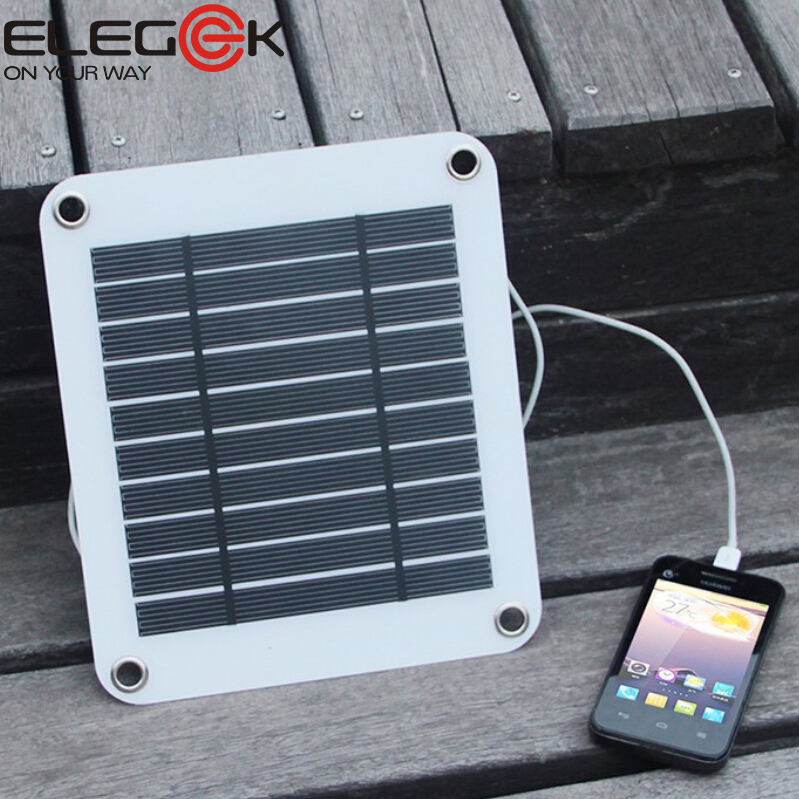 elegeek 5w 5v portable solar panel charger outdoor usb digital frame style solar charger for iphone samsung android 5v device
