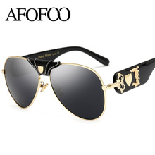 Buy AFOFOO New Fashion Sunglasses Metal Leather Decoration Frame Luxury Brand Designer Women Mirror Sun glasses Men UV400 Shades for $9.59 in AliExpress store