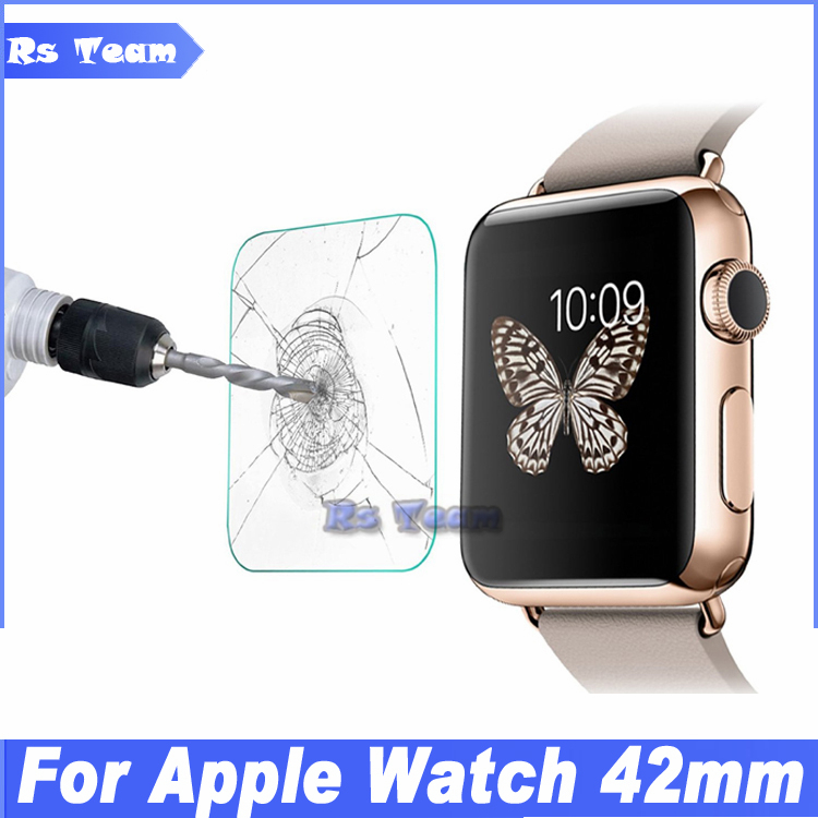 10pcs/lot 0.3MM 2.5D Tempered Glass Protective Film For Apple Watch 42mm For iWatch Reinforced Toughened Glass Screen Protector(China (Mainland))