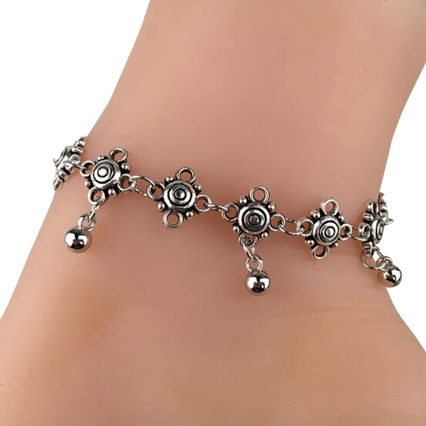 Women Delicate Floral Pattern Anklets Silver Bead Chain Ankle Bracelet Barefoot Sandal Beach Foot Jewelry(China (Mainland))