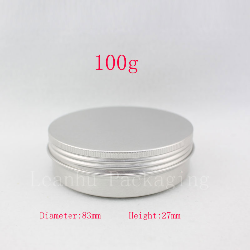 Empty cosmetic container,100g X 50 aluminum jar with screw lid ,3.5oz metal bottle for cream , ointment, storage ,candle can(China (Mainland))