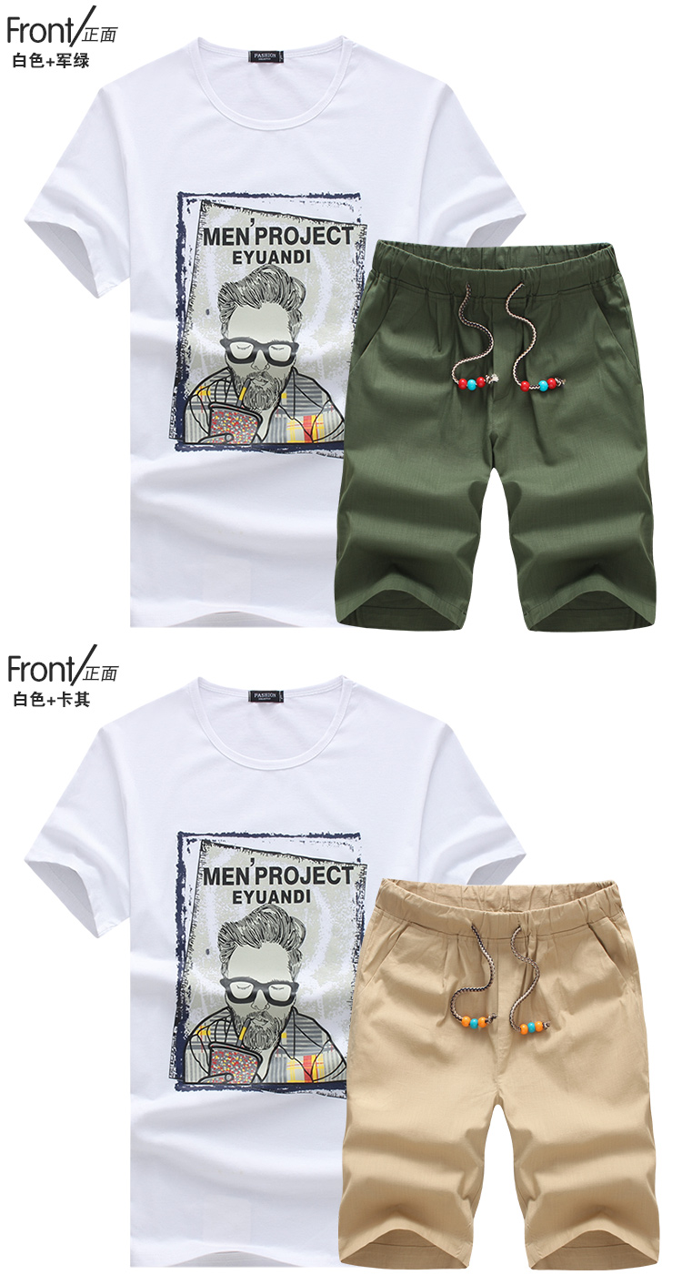 XMY3DW summer fashion men round collar printing short sleeve T-shirt/Male fashion leisure suits/t-shirts+shorts/Men linen shorts