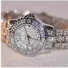 2016 full steel  women rhinestone watches famous brand watch vintage quartz lady dress watch bling diamond crystal wristwach