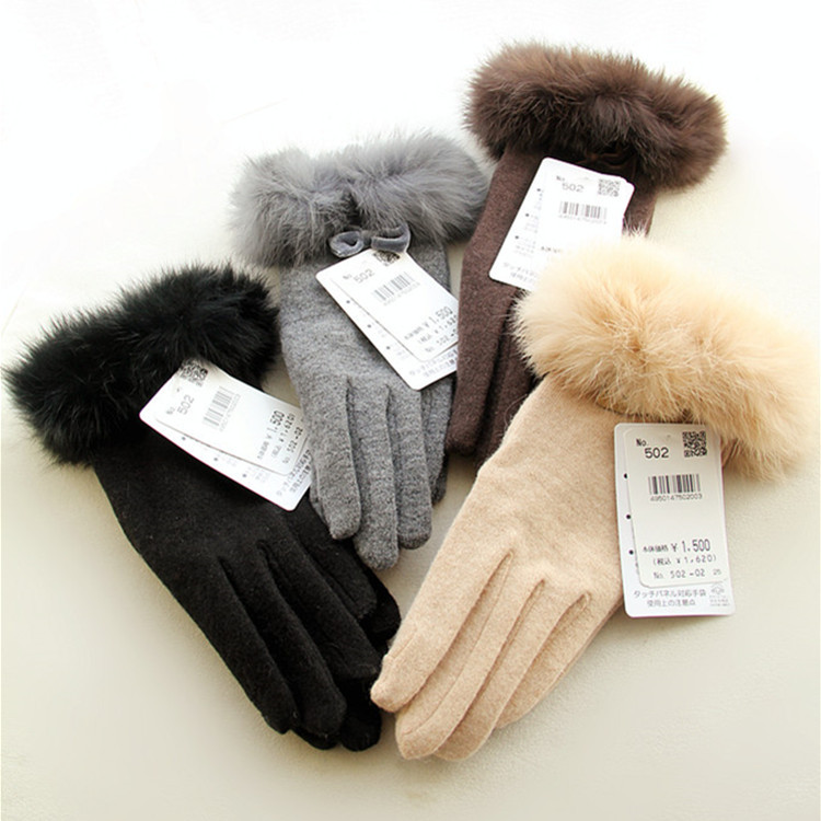 Women Wool Gloves Winter Autumn Solid Color Cony Hair Bow Thermal Glove for Ladies Beige Coffee Brown Black Handschoenen Femme(China (Mainland))