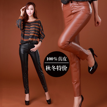 HOT Brand Women's long trousers quality suede genuine leather pants boot cut skinny pants pencil pants slim hip 2 color / S-3XL(China (Mainland))