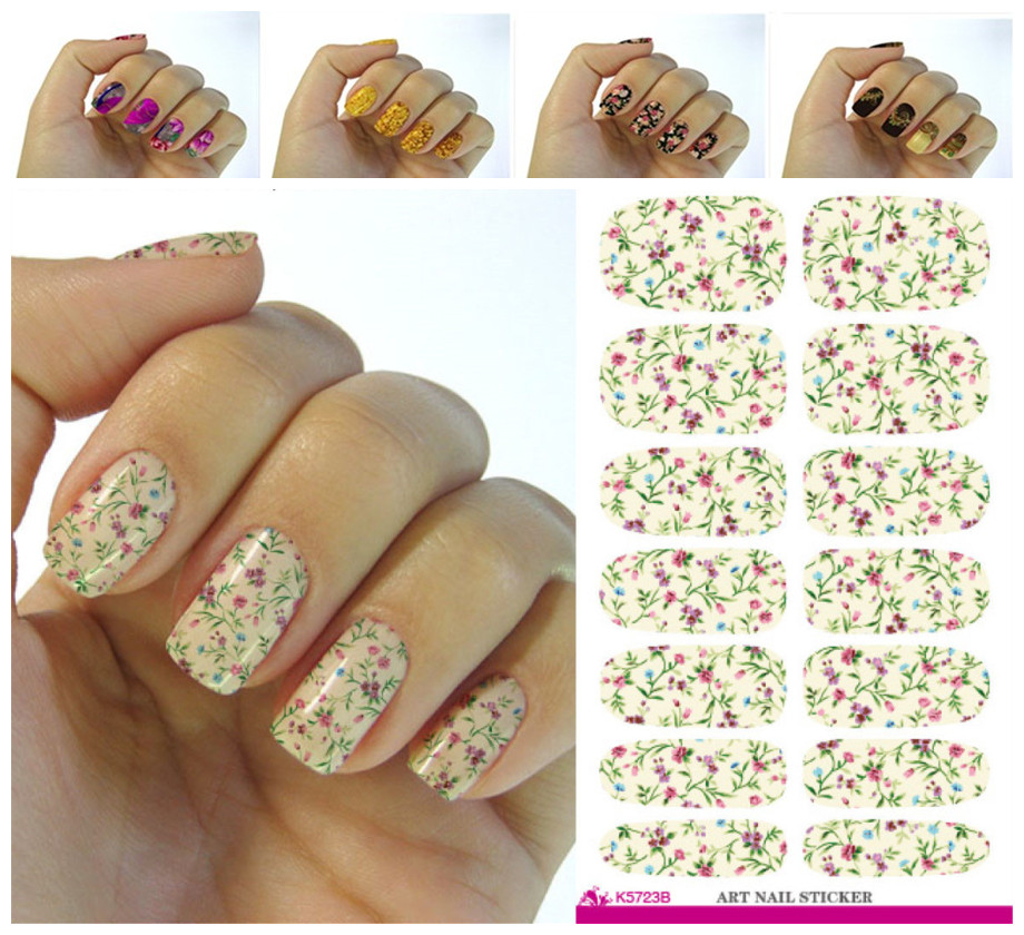 New design art sticker pink peony flower design nail stickers manicure nails packaging applique adornment tool(China (Mainland))
