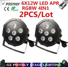 Buy 2pcs / 6X12W led par lights RGBW 4in1 flat par dmx512 control disco lights profession dj equipment wash lights for $65.00 in AliExpress store