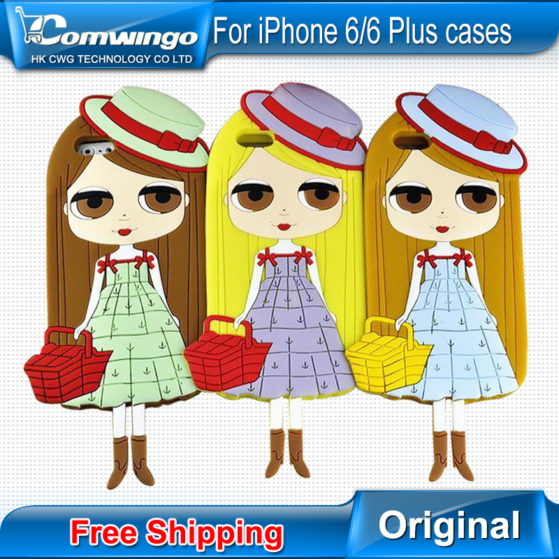 New 4.7 Inch For iPhone 6 6 Plus Case Soft 3D Silicone Cute Blythe Beautiful City Girl Lovely Doll Mobile Phone Case Back Cover(China (Mainland))