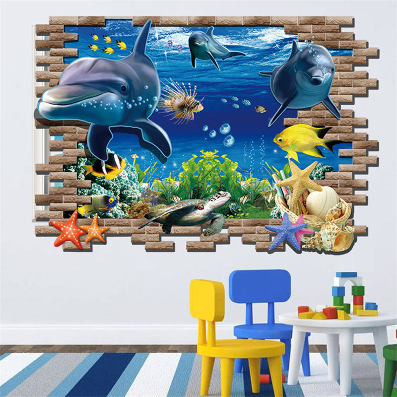 Creative Castle Stairs Dinosaur 3D Wall Stickers For Living Room DIY Children's Bedroom Floor Decorative 3D Sticker Home Decor(China (Mainland))