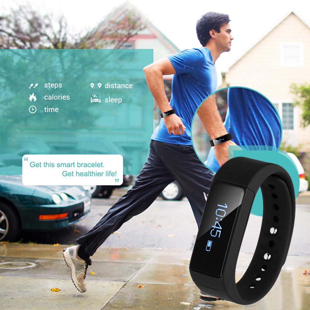 Excelvan I5 Plus Smart Bracelet Bluetooth Waterproof Touch Screen Fitness Tracker/Health/Sleep Monitor