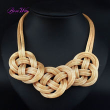 2016 Women Big Chunky Necklace Alloy Chain Knitting Knot Pendant Collar Chokers Statement Necklaces Maxi Handmade