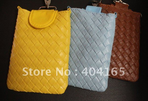 HandWoven Leather Neck Strap Bag Pouch Case for iPhone 5 5G 5S 5C(China (Mainland))