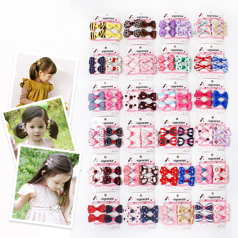 2016 New Fashion Handmade Bowknot Ribbon Hair Clips Baby Girls Hairpins Barrettes Hair Accessories Point Strips Flower Colors(China (Mainland))