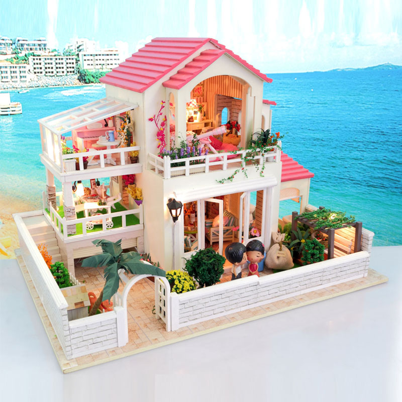 DIY Wooden Dolls house Miniatures Dollhouse 3D Handcraft Large Villa with  English instruction&amp;Furniture Xmas Gift<br><br>Aliexpress