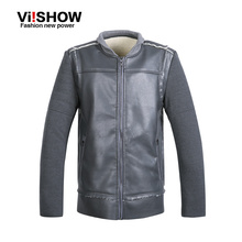 2015 Autumn and Winter Patchwork rock motorcycle Jacket Men's Stand Collar PU Leather Jackets outdoor warm zipper jacket men(China (Mainland))