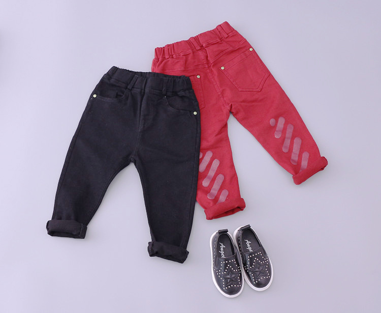 boys girls jeans and pants kdis printed denim red black jean 2016 spring autumn toddler fashion cowboys jersey children 1-5T(China (Mainland))