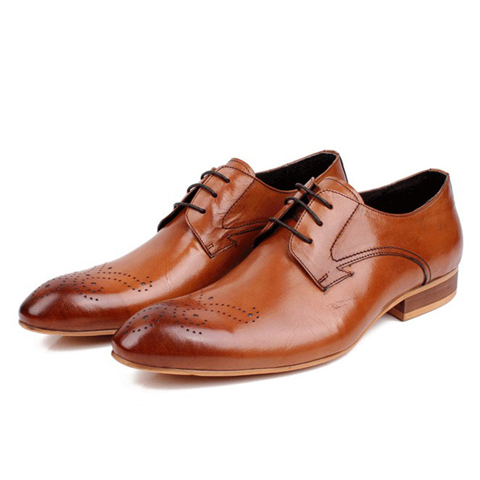 Фотография 2016 New Fashion Real Genuine Leather Formal Brand Man Brogue Oxford Men