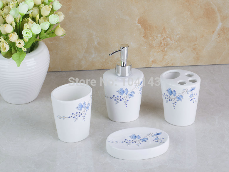 L-XLD 8019 Different Shape 4 Pieces Ceramic Bathroom Accessories Set Vanity Dispenser Bathroom Sets(China (Mainland))