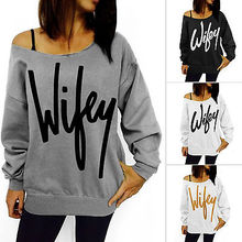 2016 Womens Letter Print Loose Crewneck Casual Pullover Jumper Sweater Top Wholesale(China (Mainland))