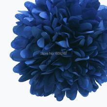 "10pcs 14""(35cm) Large Decorative Party Nursery Decorations Navy Tissue Paper Pom Poms Hanging Flower Ball Wholesale(China (Mainland))"