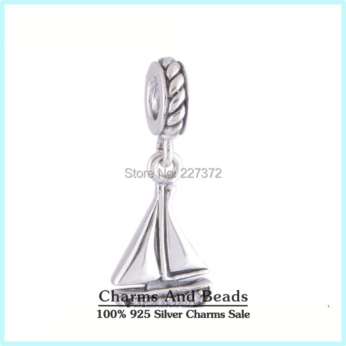 Sail Boat Dangle 925 Sterling Silver Pendant Thread Charms with Crystal Fits Pandora Style Bracelets(China (Mainland))