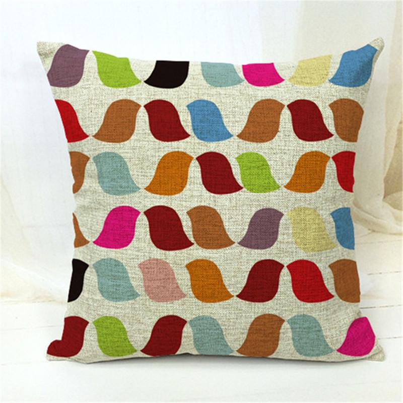 2016 Modern Home Decorative Throw Pillowcase Geometric Tree Birds Cotton Linen Cushion Cover For Sofa Home