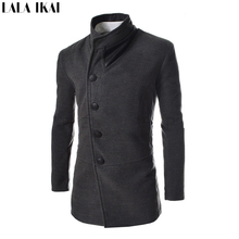 Fashion Leather Neck Mens Wool & Blends Mens Coats Single Breasted Trench Coat Long Pea Coat Men's  Winter Clothes SMH0022-5(China (Mainland))