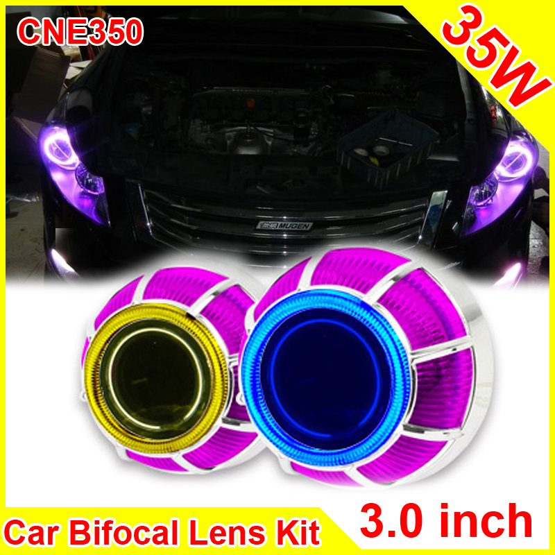 3.0 Inch 35W Car H1 H4 H7 Bi Xenon Projector Lens External lights Day Light Led Motorcycle Car Headlight Lens CCFL Angel Eyes(China (Mainland))