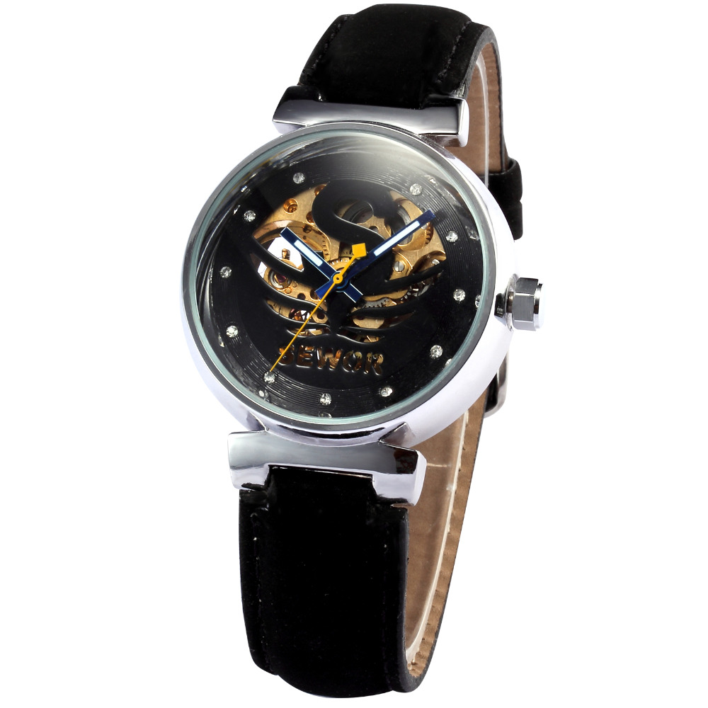2016 Sewor Brand Mens Black leather Automatic Mechanical Skeleton Stainless Steel Wrist Watch Men's Business Fashion Watches(China (Mainland))