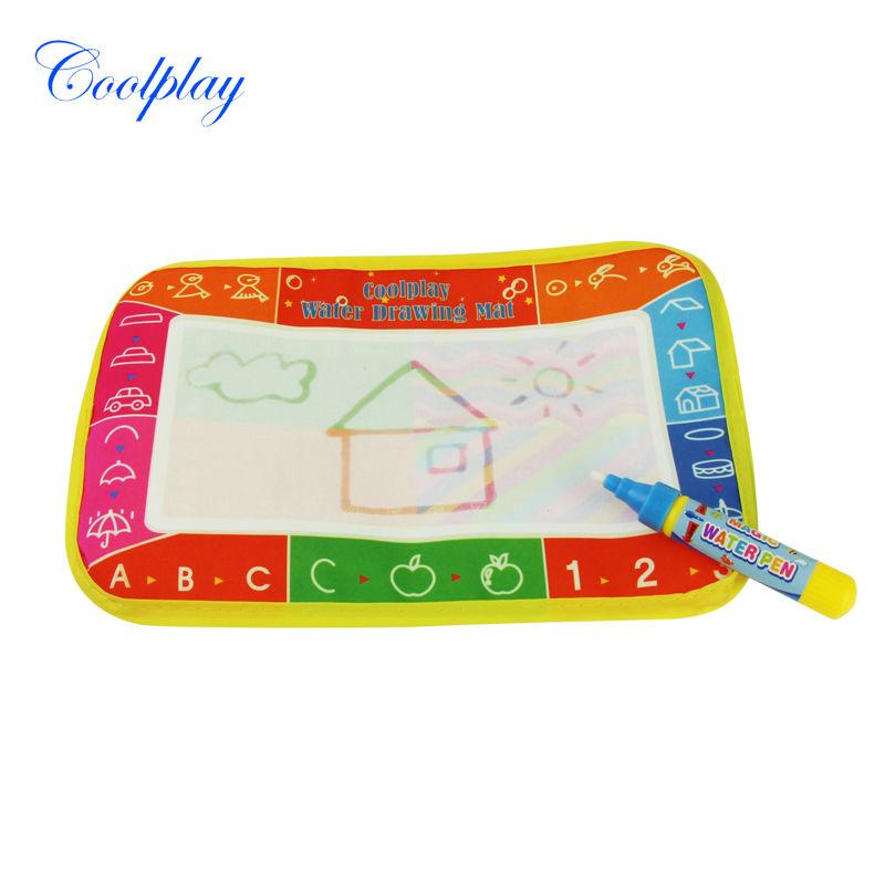 Free shipping 25X16.5cm CP1306 6 colors Water Drawing Toys Mat Aquadoodle Mat &1 Magic Pen Water Drawing board baby play mat(China (Mainland))