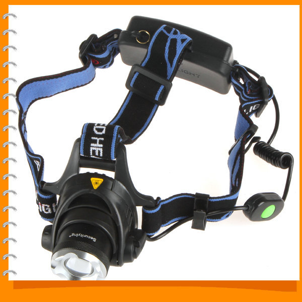 SecurityIng 1200 Lumens Zoom CREE XML T6 LED Headlamp Headlight Zoomable Focus 18650 LED Head Lamp Light with Charger