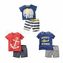 2016 Fashion Summer Boy clothes sets boy t-shirt+pants suit clothing Set Clothes elephant Sport Suits Boy Clothes ChildrenT17
