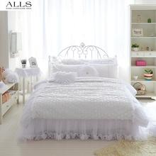 comforter sets king size bed skirt duvet cover kids/girls gift bedding set bed linen white pink lace princess for wedding girls(China (Mainland))