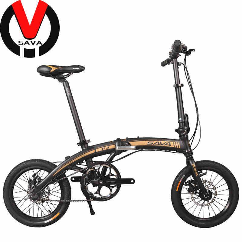 "SAVA 16"" Quick Release Folding Bicycle & Mechanical Disc Brake 8' Second Aluminum Folded Bike SHIMANO Rear Derailleur 4 Colors(China (Mainland))"
